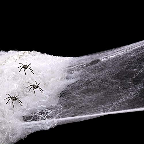 BLUEWIND Spider Web, Scary Halloween Decorations for Indoor & Outdoor, with 30 Pack Fake Spiders, Stretchable Halloween Spider Webbing to Decor House, Yard, Tree, Window, Door, Party -