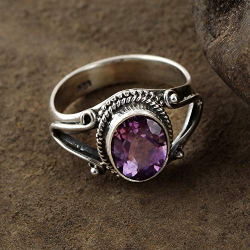 Amethyst Ring 925 Sterling Silver Ring Eye Catching Ring Oval Shape Ring Dainty Ring Feceted Amethyst Ring Gift For Her Antique Ring Vintage Ring Boho Ring Delicate Ring Unique Ring - Solitaire Shape Baguette