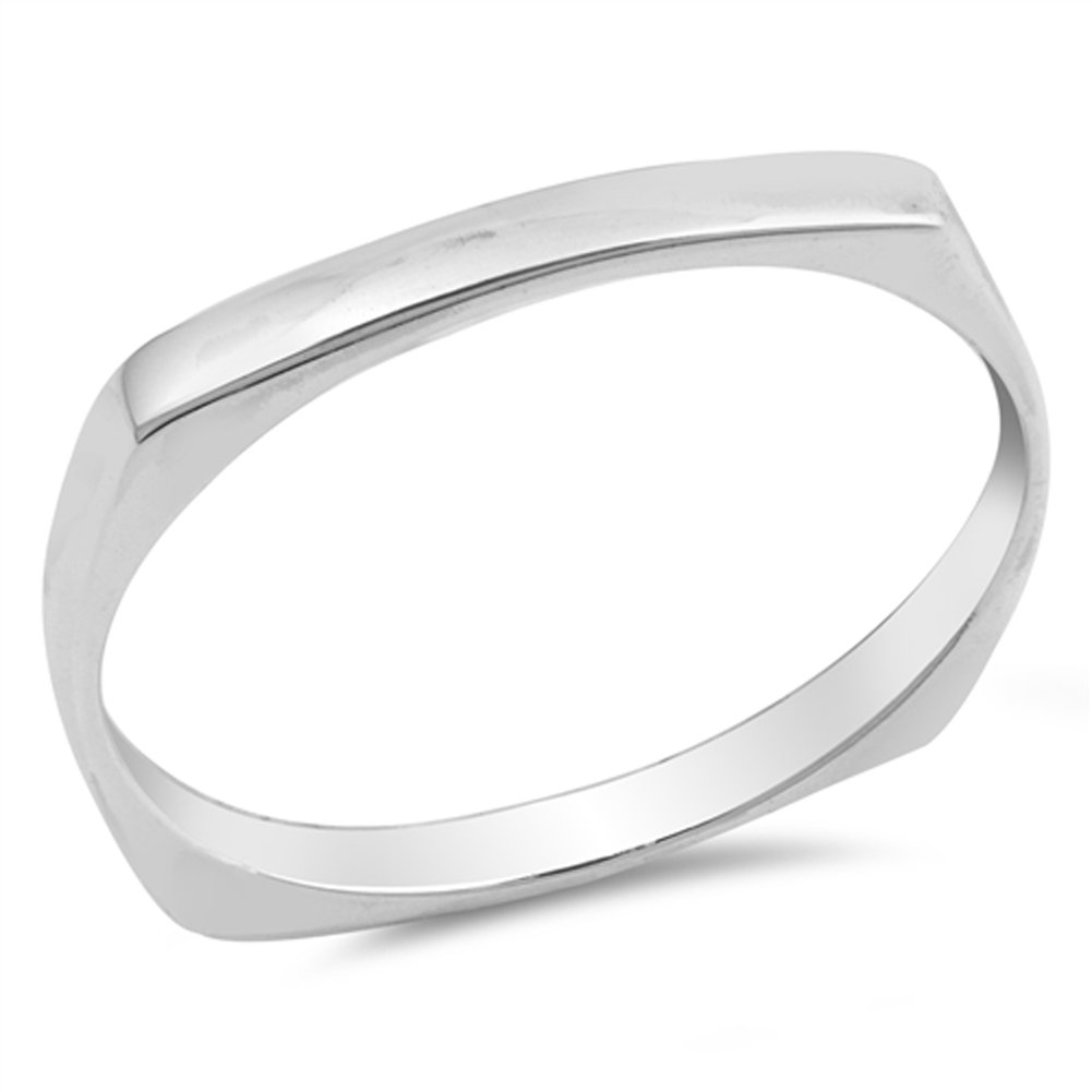 Square Dome Thumb Ring New .925 Sterling Silver Classic Wedding Band Size 9