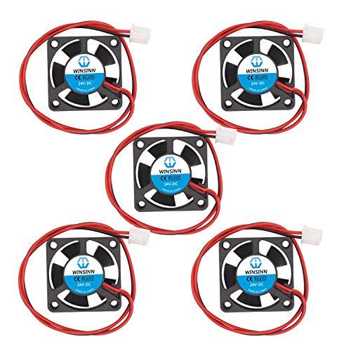 WINSINN 30mm Fan 24V DC Brushless Quiet Cooling 3010 30x10mm For 3D Printer Extruder Hotend V6 V5 CPU Arduino - 2Pin 0.07A 2.4W 9000+-10%RPM (Pack of 5Pcs)