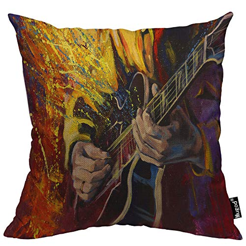 Mugod Jazz Guitarists Hands Pillowcase Playing Guitar Multicolored Fantasy Splash 18