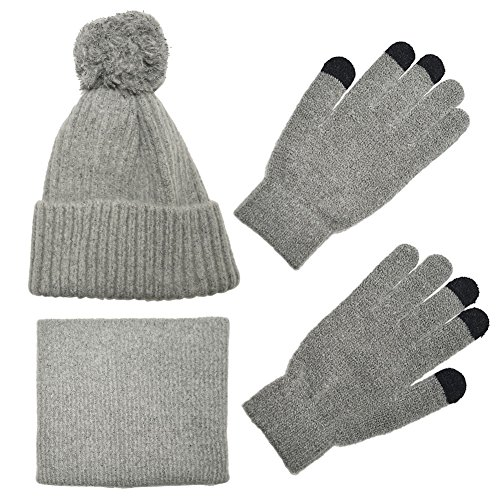 Knit Scarf/Hat/Gloves Set, Soft Warm Beanie, Touch Screen for Families Friends, Women Men Unisex Cable Knit Winter Cold Weather Gift Set (Gray)