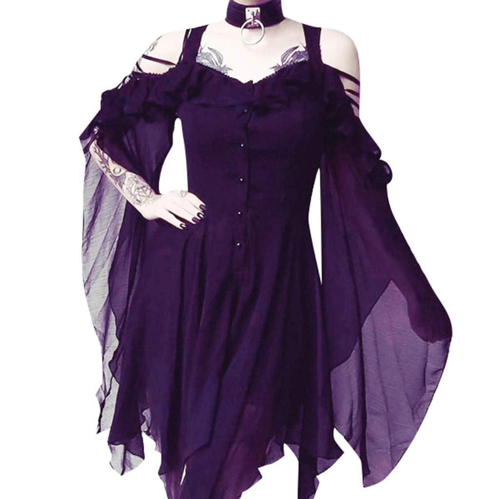 Party Mini Dress,Women Black Steampunk Gothic Victorian Ruffled Dress,O Neck Flare Sleeve Cut Out Lace Cosplay Costumes (1-Purpel, 3XL)