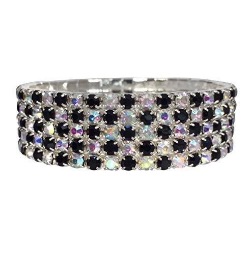 5 Row AB Aurora Borealis Iridescent and Black Rhinestone Formal Prom Blingy Stretch Bracelet