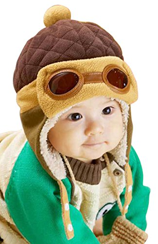 Little Children Toddlers Fleece Lining Aviator Pilot Earflap Hat Coffee