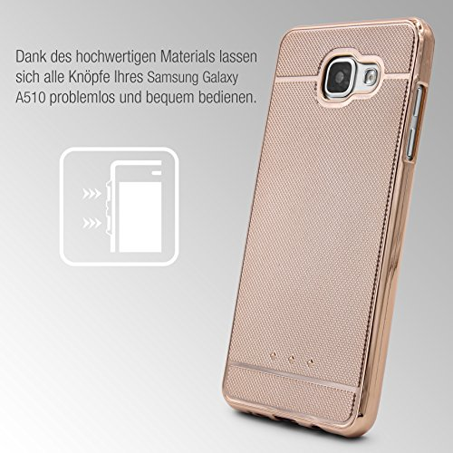 Urcover® Apple iPhone 6 Plus / 6s Plus Back-Case Handy Schutz-Hülle Metall Optik Silikon in Gold TPU Cover Smartphone Zubehör Tasche flexible Ultra Slim Handyhülle