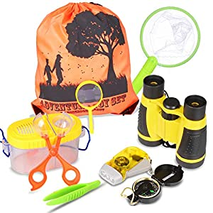 Outdoor Explorer Kit – Bug Catcher Kit with Binoculars, Flashlight, Compass, Magnifying Glass, Butterfly Net and…