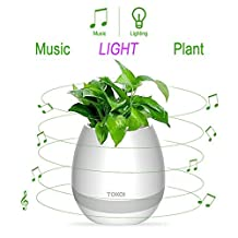 Bluetooth Speaker Touch Sensitive Piano Music Planter with LED Multi-color Night light&Rechargeable Wireless(without plants)