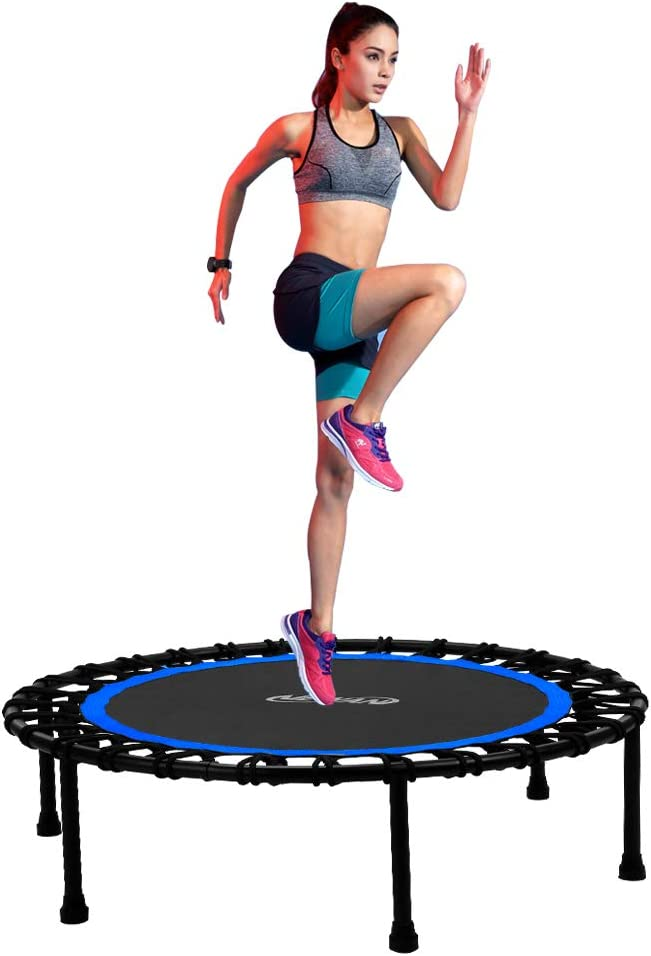 Newan 40 Silent Mini Trampoline Fitness Trampoline Bungee Rebounder Jumping Cardio Trainer Workout for Adults Max. Load 330lbs