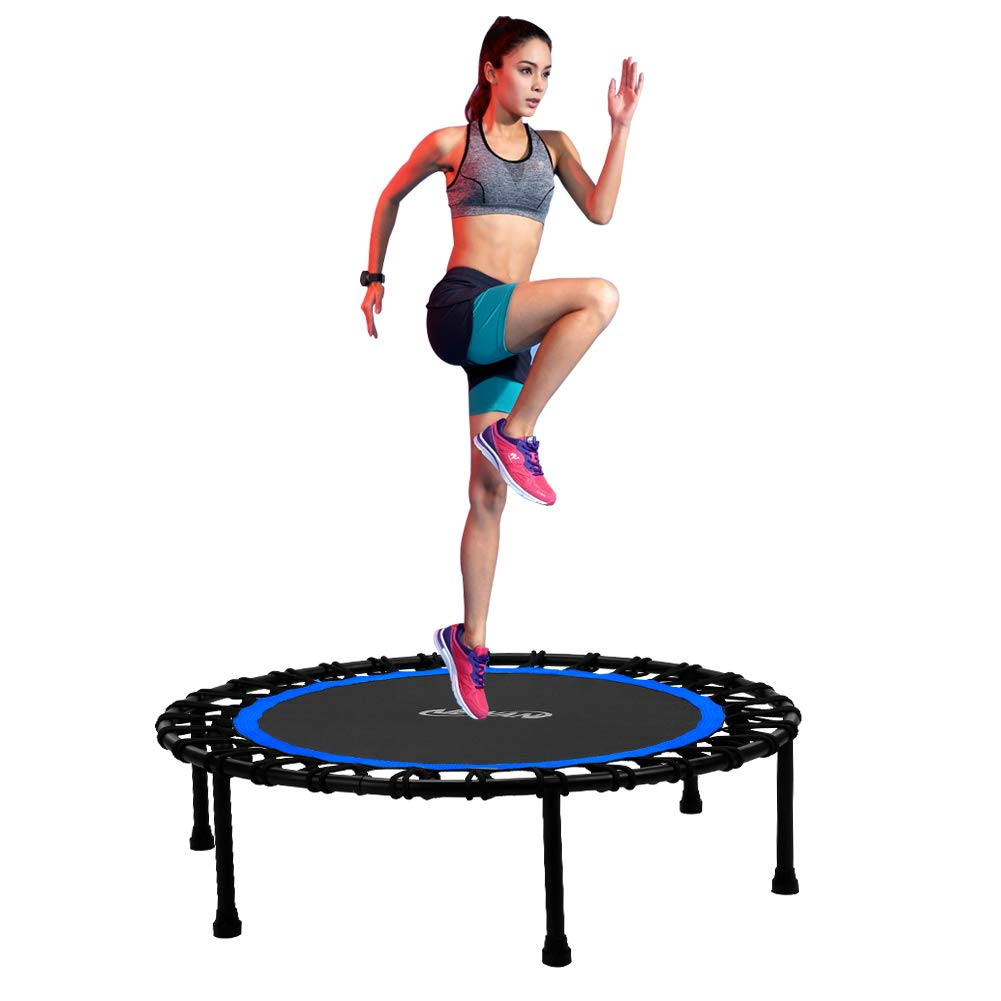 Newan 40'' Silent Mini Trampoline Fitness Trampoline Bungee Rebounder Jumping Cardio Trainer Workout for Adults or Kids (Max. Load 330lbs) by Newan