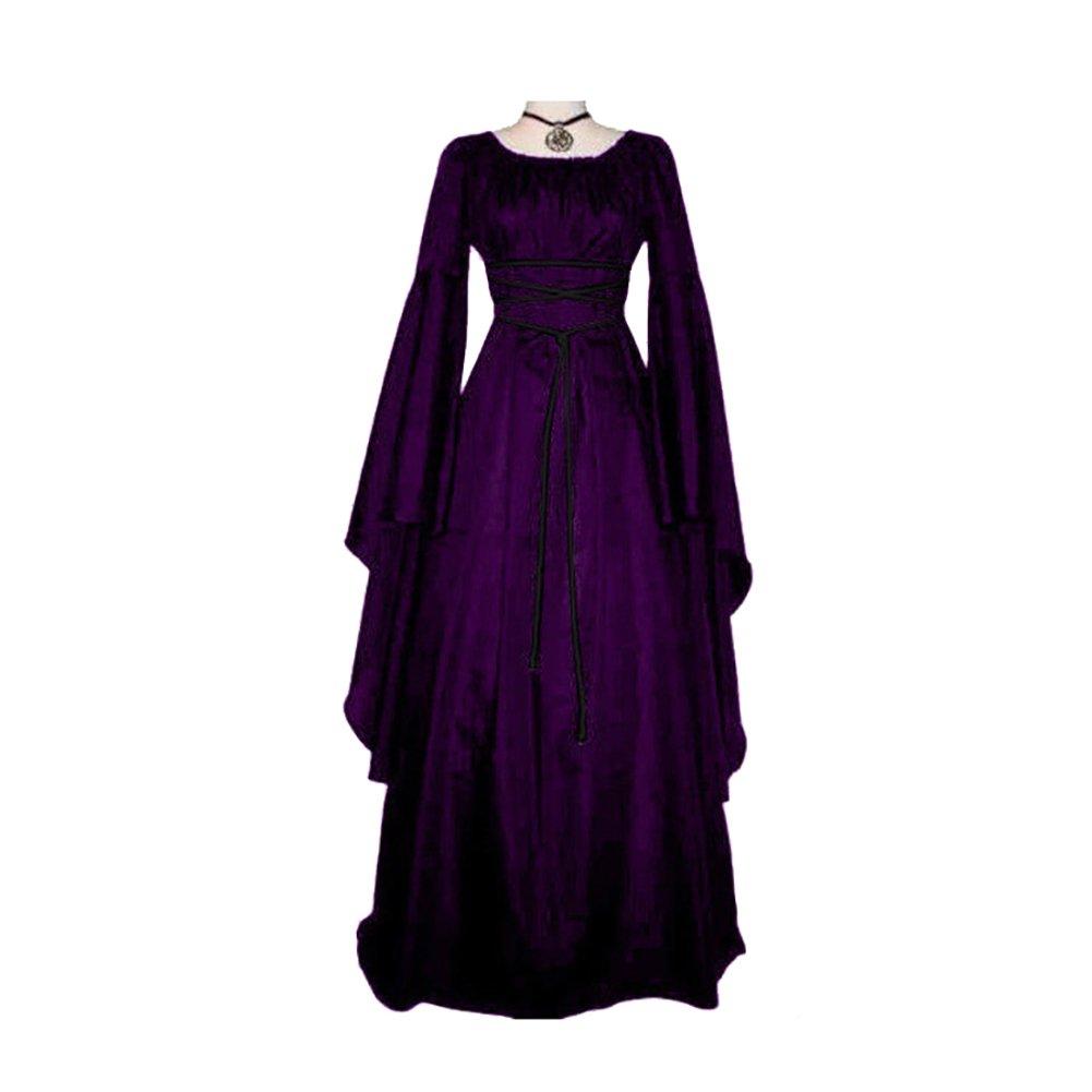 856store Retro Women's Long Sleeve Round Neck Party Maxi Dress Halloween Cosplay Costume