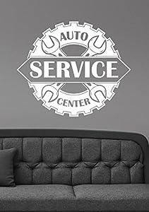 Amazoncom Auto Service Center Logo Removable Vinyl Window - Custom vinyl wall decals for garage
