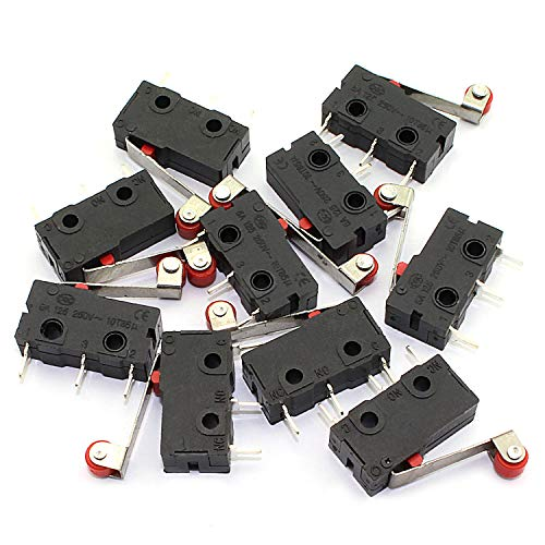 - RuiLing 10pcs Micro Limit Switch 3Pin AC 125V/250V 5A Roller Lever Arm Snap Action Normally Open/Close Micro Switch KW12-3