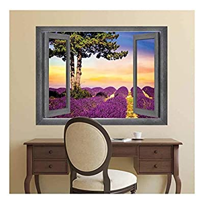 Open Window Creative Wall Decor View into a Vibrantly Colored Field at Sunset Wall Mural, Quality Artwork, Charming Visual