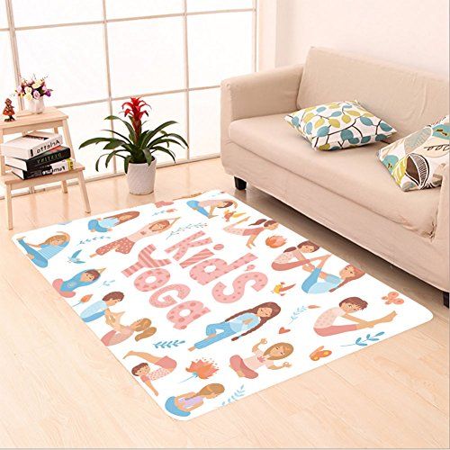 Sophiehome skid Slip rubber back antibacterial  Area Rug cute kids doing yoga exercises yoga kids set gymnastics for children and healthy lifestyle 559726198 Home Decorative by sophiehome