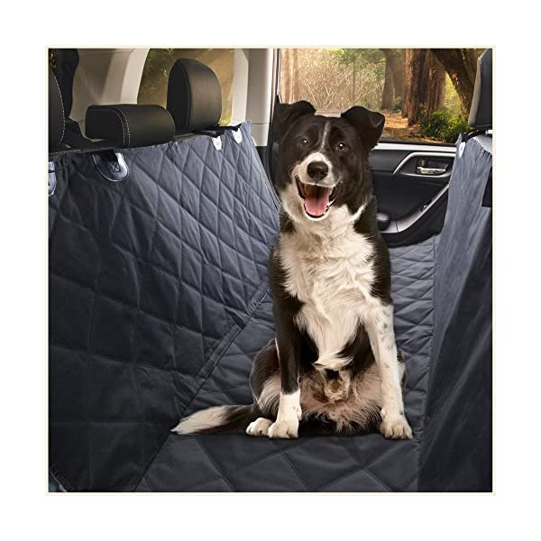 E Ess & Craft Dog Hammock   Waterproof Pet Car Rear/Back Seat Cover, Hammock And Standard, Quilted, Triple Layered With Seat Belt Slots, Black