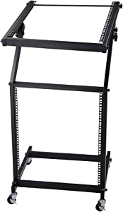 AW Rolling DJ Mixer Stand Stage Cart Adjustable Rack Mount Studio Equipment Music Party Show 12UX