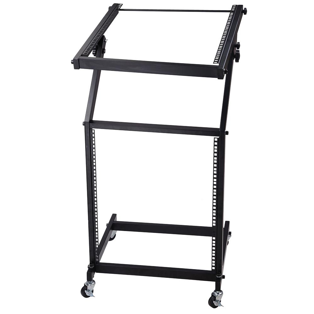 AW Rolling DJ Mixer Stand Stage Cart Adjustable Rack Mount Studio Equipment Music Party Show 12UX AW-MCS000004