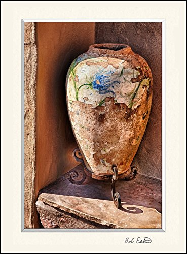 11 x 14 inch mat including photograph of Southwest pottery vase with painted blue flowers on an Arizona adobe building windowsill. by Bob Estrin Fine Art Photography