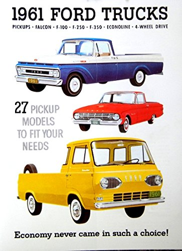 BEAUTIFUL 1961 FORD DEALERSHIP FORD TRUCK & PICKUP SALES BROCHURE - ADVERTISMENT - COVERING F-100, F-250, F-350, Econoline, Van, Cab-Forward, Falcon Ranchero, Falcon Pickup, Conventional, 4WD, Stake, Platform, Custom, Standard - 61