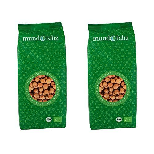 Mundo Feliz - Avellanas ecológicas crudas, 2 bolsas de 500 g