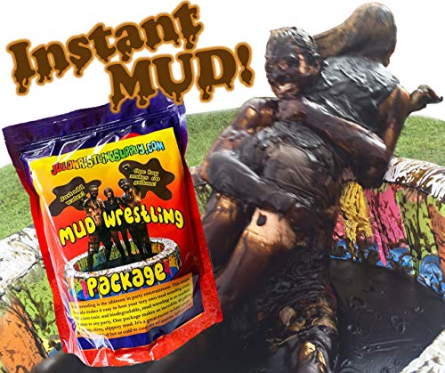 INSTANT MUD for Wrestling, Mud Pies, Balloons & Bombs JUST ADD WATER Bulk Mud powder makes 60 GALLONS of fake mud. Safe, clean mud run obstacle pits, pitch burst, Slime ()
