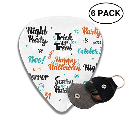 Celluloid Guitar Picks For Bass Guitar,Print Happy Halloween-6pcs