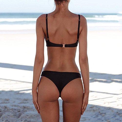 Sexy Einfarbig Badeanzug Domybest Schwarz Mode Damen Bikini High Waist Einfach