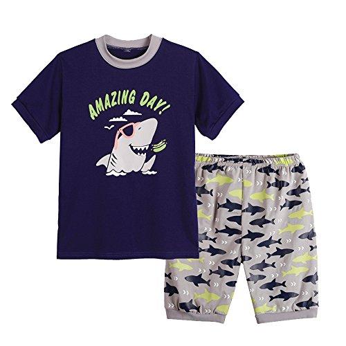 MyFav Big Boys Pajamas 2 Piece Short PJS Cute Cartoon Shark Sleepwear 6-14 (Unique Kids Pajamas)