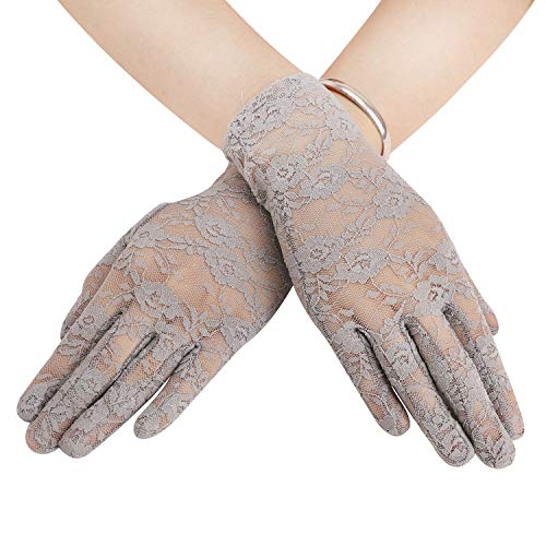 - Sexy Floral Bow Lace Short Gloves Women Bridal Wedding Gloves Party Fancy Costumes (Grey Lace)