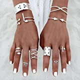 Malloom 6pcs/Set Women Punk Retro Silver Plated Nail Ring Above Knuckle Rings Set