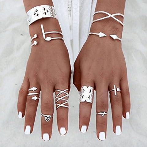Malloom 6pcs/Set Women Punk Retro Silver Plated Nail Ring Above Knuckle Rings Set (Boho Rings Silver)