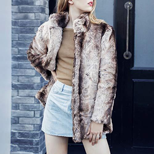 Solido Tacca Needra pelliccia Camicetta Colore Casuale Inverno Di Di Collare Marroni Outwear Autunno Donne Cappotto Di Eco SEgUOqSw