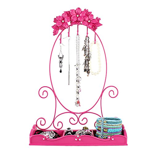 (Fuchsia Flowers Jewelry Holder Oval Shaped Stand with Ring Tray for Bracelets, Rings)