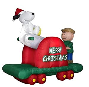 Peanuts Christmas Snoopy & Charlie Brown Handcar Animated Airblown Inflatable Outdoor Decoration