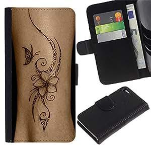A-type (Bird Floral Butterfly Skin Ink Flower) Colorida Impresión Funda Cuero Monedero Caja Bolsa Cubierta Caja Piel Card Slots Para Apple Apple iPhone 4 / iPhone 4S