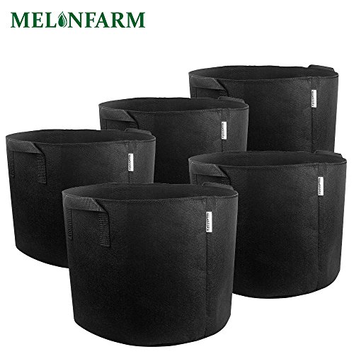 MELONFARM 5-Pack 7 Gallon Grow Bags Heavy Duty Thickened Non-Woven Smart Plant Aeration Fabric Pots Containers with Handles Extremely Durable (Black) by MELONFARM