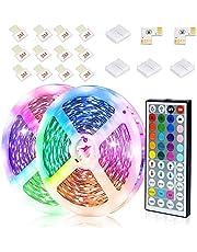 JESLED LED Strip Lights, 12M RGB LED Light Strips with 44-Key Remote Control, Color Changing Decorative LED Tape Lighting for Living Room Bedroom Kitchen Bar Cabinet TV, Timing&Dimable(6M 2Pack)