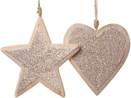 Amazon Com Shabby Chic Wooden Heart Or Star Gold Glitter Hanging Christmas Tree Decoration Home Kitchen