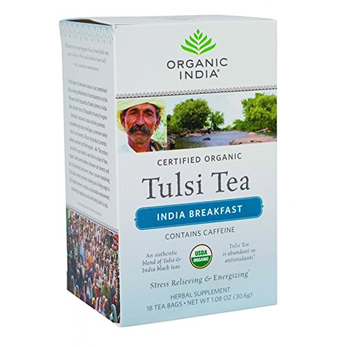 (Organic India Organic Tulsi Tea - India Breakfast - 18 Tea Bags - Case of)