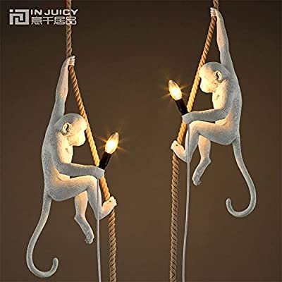 Injuicy Lighting Loft Vintage Resin Hemp Rope Monkey Pendant Lights Fixture Industrial Retro E14 Edison Bulb Ceiling Pendant Lamp for Dining Room Bedroom Bar Cafe Gift