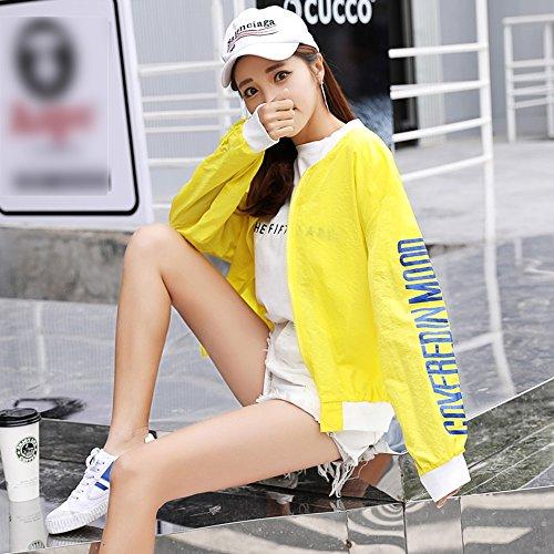 QFFL fangshaifu 女性ショートショートサンプロテクション服/野球制服学生シンプルカーディガン/シンハイア通気性アンチUVサンプロテクションショール (色 : イエロー いえろ゜, サイズ さいず : M)
