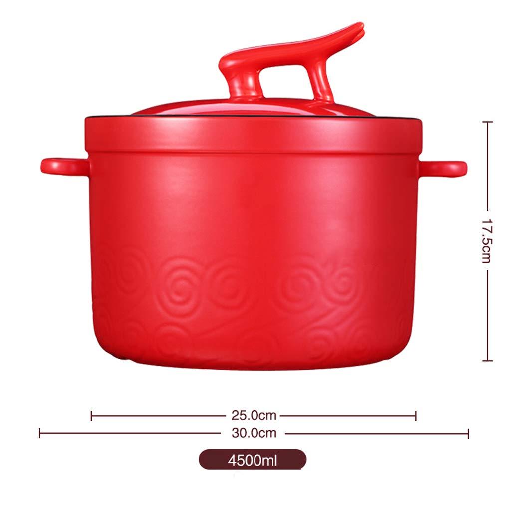 Cazuela de cerámica de Alta Temperatura de Gran Capacidad cazuela de Gas roja casera Estufa de Gas Olla-4.5L: Amazon.es: Hogar