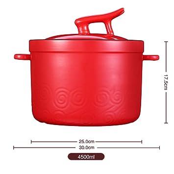 BJ-Casserole Cazuela de cerámica de Alta Temperatura de Gran Capacidad cazuela de Gas roja casera Estufa de Gas Olla-4.5L: Amazon.es: Hogar