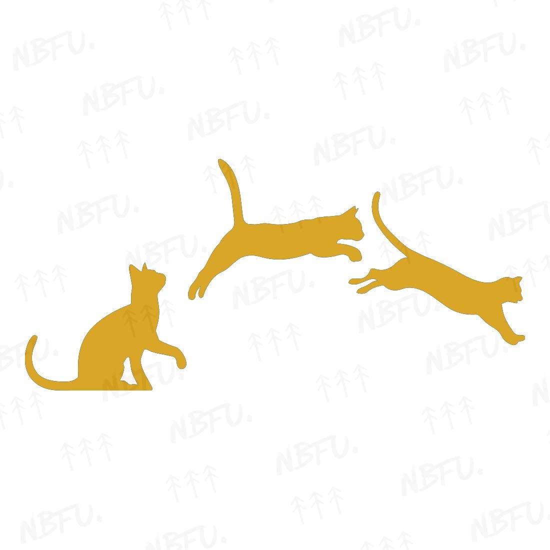 NBFU Decals Jumping Cats Kittens Love (Metallic Gold) (Set of 2) Premium Waterproof Vinyl Decal Stickers for Laptop Phone Accessory Helmet Car Window Bumper Mug Tuber Cup Door Wall Decoration