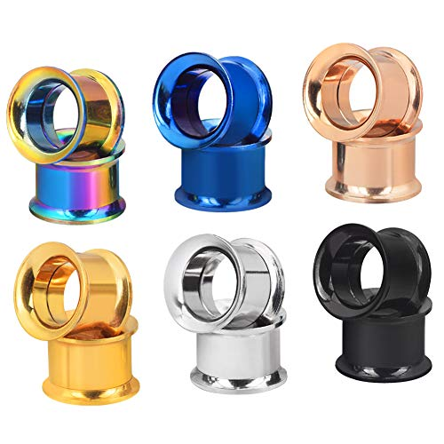 Longbeauty 6 Pair Stainless Steel Screwe Flesh Tunnel Expander Eer Plug Gauge Earlets 6 Colors 3MM