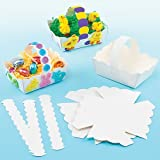 Lot de 12 Paniers de Pâques Blancs à colorier ou décorer