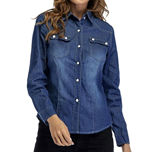 Snap Close Western Shirt (Kintaz Women's Button Down Long Sleeve Basic Classic Western Denim Value Shirt Tops with Pockets (Deep Blue (Button Front), Size:XXL))