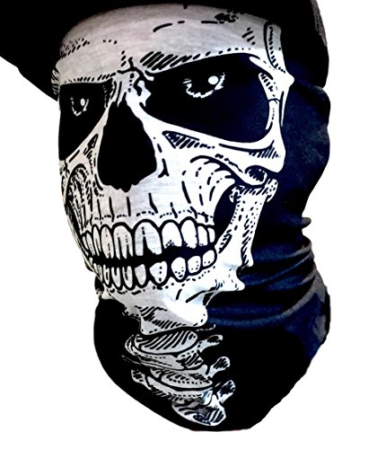 Skull Half Face Shield Tubular Bandana Mask With Skeleton Vertebrae Neck Bones Motorcycle Rider Face Protection Custom Made By My Skull Store -