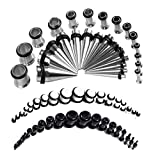 BodyJ4You 72PC Gauges Kit Black White Acrylic Plugs Stainless Steel Tapers 14G-00G Ear Stretching Set